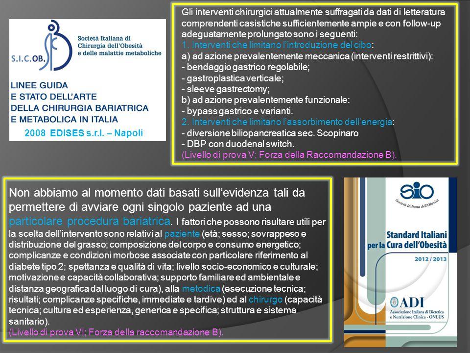 2008 EDISES s.r.l. – Napoli Gli interventi chirurgici attualmente suffragati da dati di letteratura comprendenti casistiche sufficientemente ampie e c
