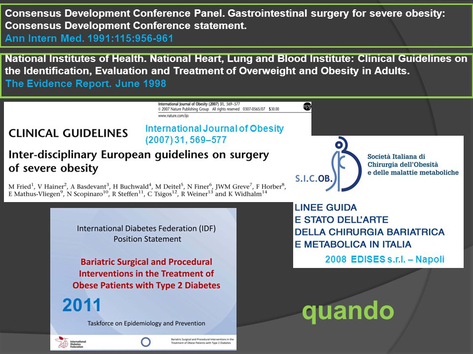 Consensus Development Conference Panel. Gastrointestinal surgery for severe obesity: Consensus Development Conference statement. Ann Intern Med. 1991: