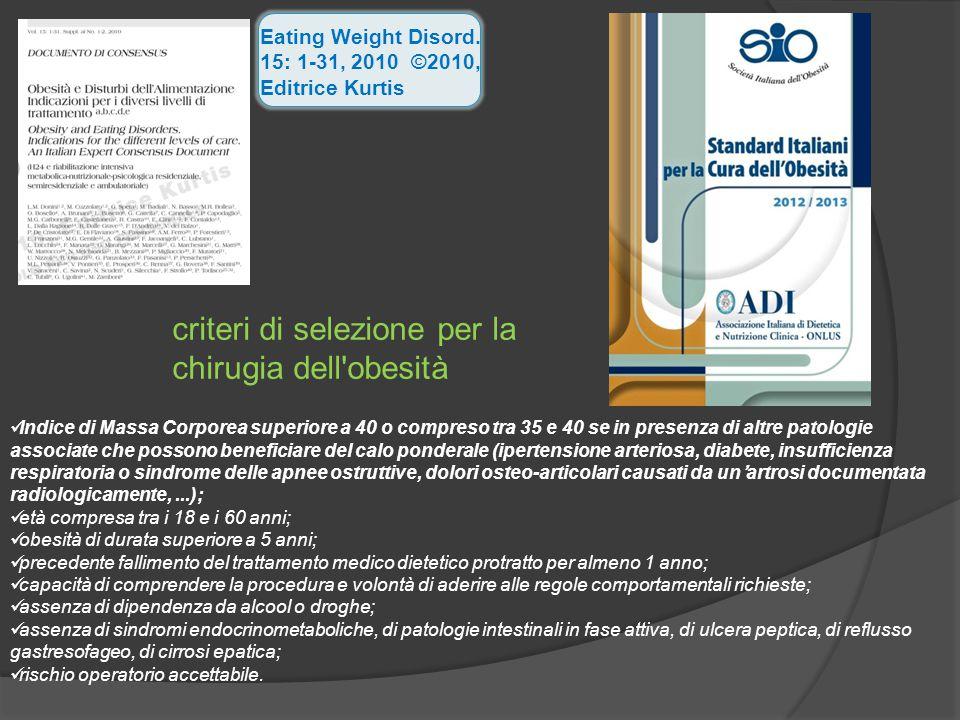 Eating Weight Disord. 15: 1-31, 2010 ©2010, Editrice Kurtis criteri di selezione per la chirugia dell'obesità Indice di Massa Corporea superiore a 40