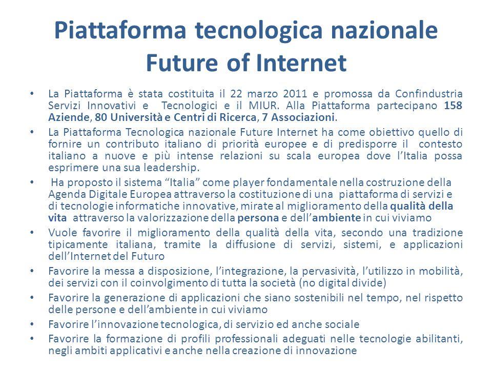 Piattaforma tecnologica nazionale Future of Internet La Piattaforma è stata costituita il 22 marzo 2011 e promossa da Confindustria Servizi Innovativi e Tecnologici e il MIUR.