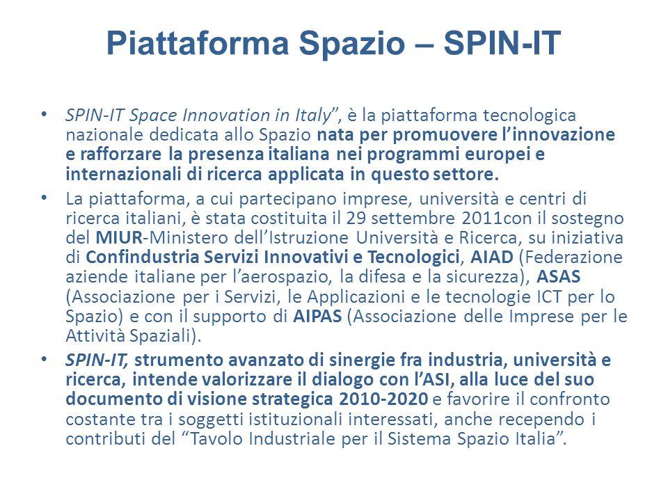 """Piattaforma Spazio – SPIN-IT SPIN-IT Space Innovation in Italy"""", è la piattaforma tecnologica nazionale dedicata allo Spazio nata per promuovere l'inn"""