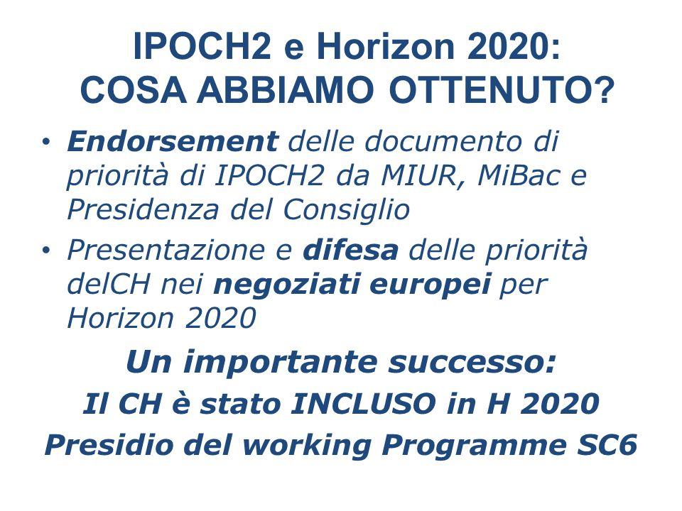IPOCH2 e Horizon 2020: COSA ABBIAMO OTTENUTO? Endorsement delle documento di priorità di IPOCH2 da MIUR, MiBac e Presidenza del Consiglio Presentazion