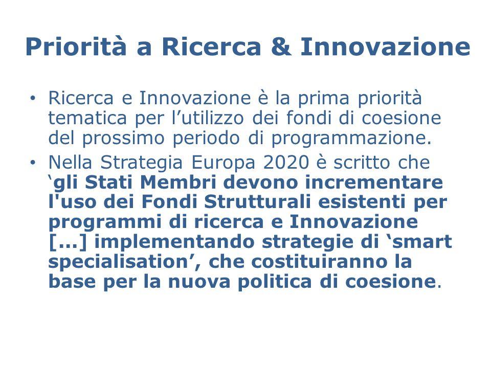 Priorità a Ricerca & Innovazione Ricerca e Innovazione è la prima priorità tematica per l'utilizzo dei fondi di coesione del prossimo periodo di programmazione.