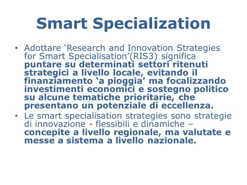 Smart Specialization Adottare 'Research and Innovation Strategies for Smart Specialisation'(RIS3) significa puntare su determinati settori ritenuti strategici a livello locale, evitando il finanziamento 'a pioggia' ma focalizzando investimenti economici e sostegno politico su alcune tematiche prioritarie, che presentano un potenziale di eccellenza.