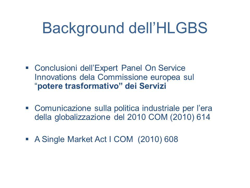 Background dell'HLGBS  Conclusioni dell'Expert Panel On Service Innovations dela Commissione europea sul potere trasformativo dei Servizi  Comunicazione sulla politica industriale per l'era della globalizzazione del 2010 COM (2010) 614  A Single Market Act I COM (2010) 608