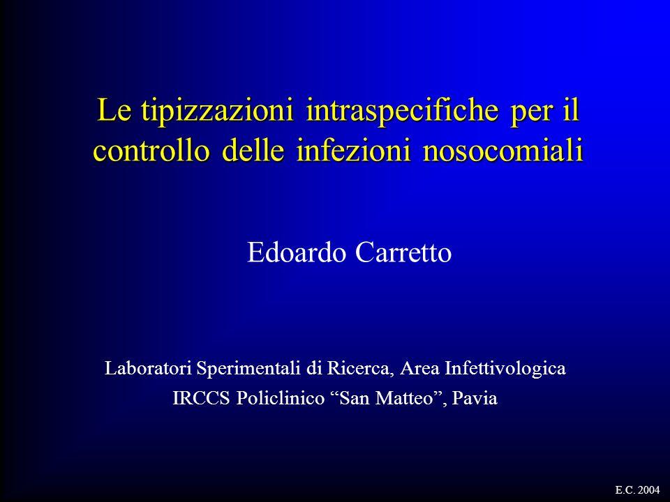 Le tipizzazioni intraspecifiche per il controllo delle infezioni nosocomiali Laboratori Sperimentali di Ricerca, Area Infettivologica IRCCS Policlinic