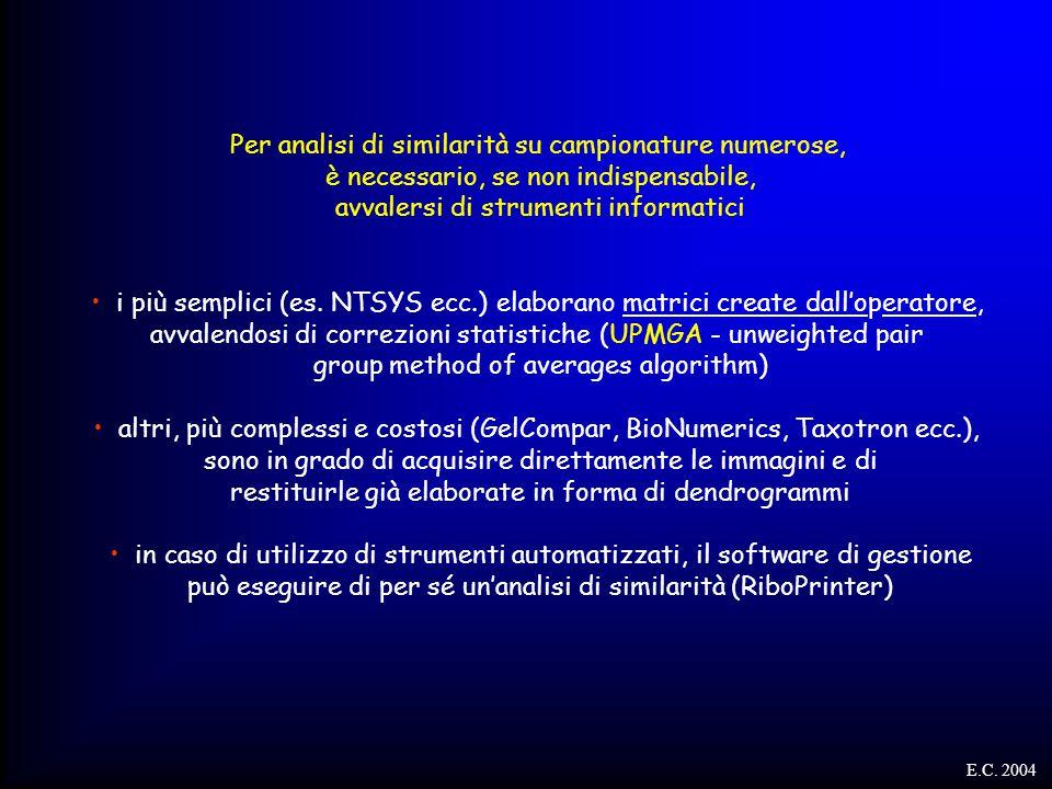 Per analisi di similarità su campionature numerose, è necessario, se non indispensabile, avvalersi di strumenti informatici i più semplici (es. NTSYS