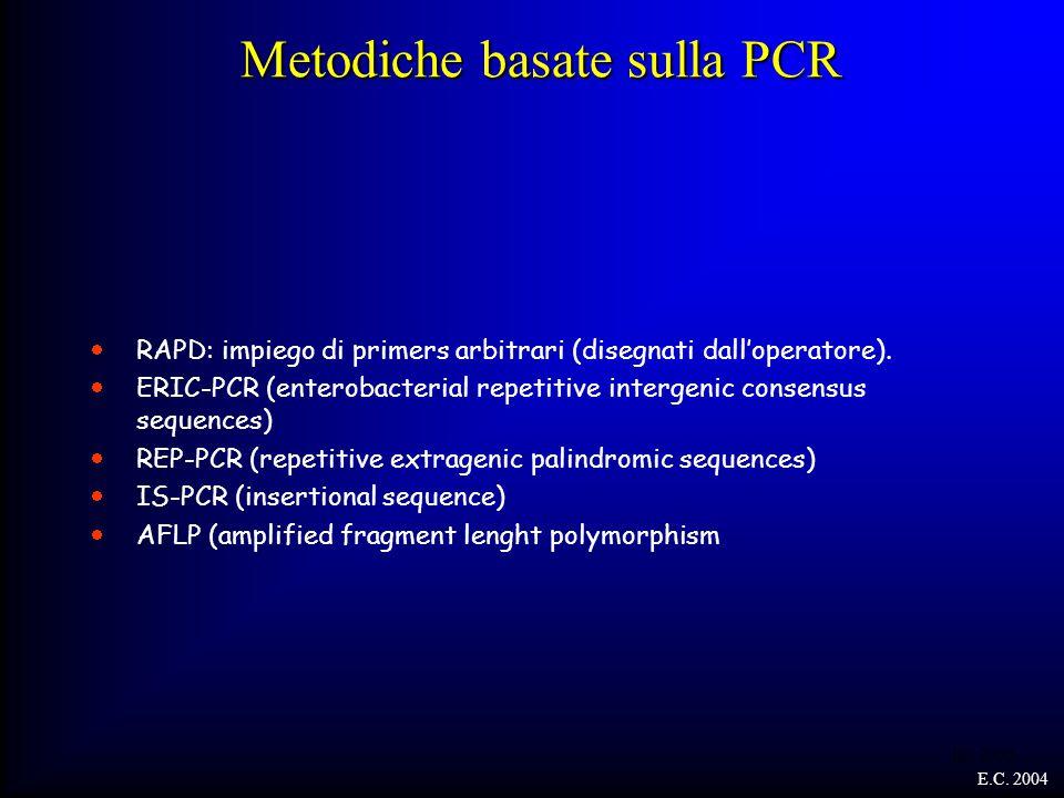 Metodiche basate sulla PCR  RAPD: impiego di primers arbitrari (disegnati dall'operatore).  ERIC-PCR (enterobacterial repetitive intergenic consensu