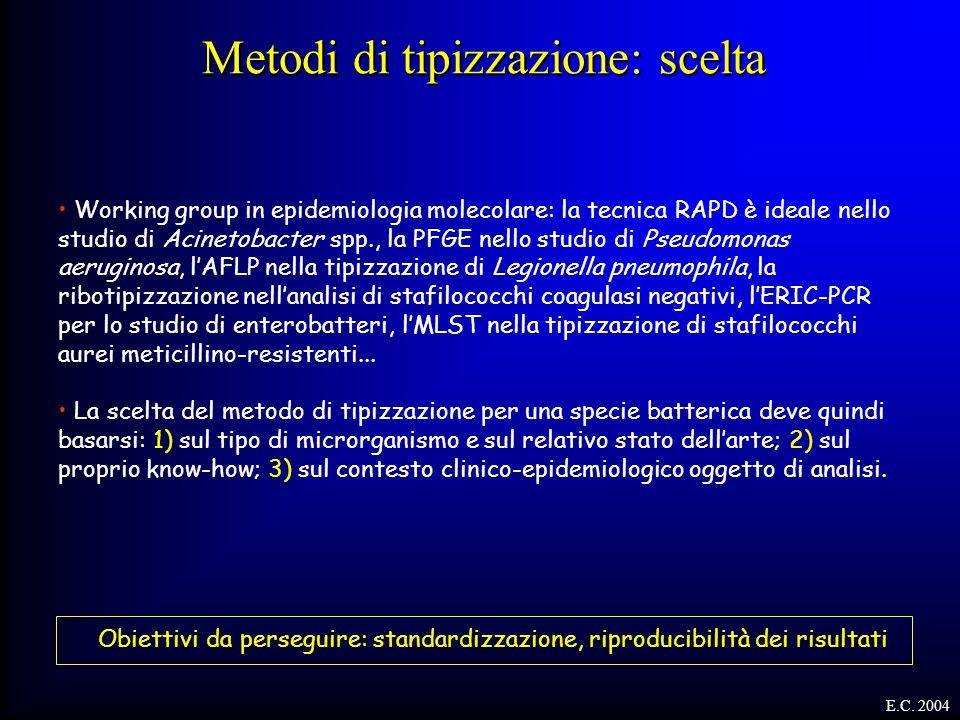 Working group in epidemiologia molecolare: la tecnica RAPD è ideale nello studio di Acinetobacter spp., la PFGE nello studio di Pseudomonas aeruginosa