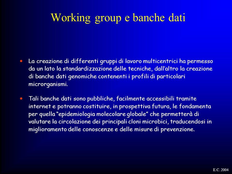 Working group e banche dati  La creazione di differenti gruppi di lavoro multicentrici ha permesso da un lato la standardizzazione delle tecniche, da