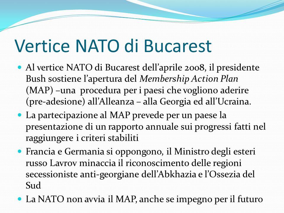 Vertice NATO di Bucarest Al vertice NATO di Bucarest dell'aprile 2008, il presidente Bush sostiene l'apertura del Membership Action Plan (MAP) –una procedura per i paesi che vogliono aderire (pre-adesione) all'Alleanza – alla Georgia ed all'Ucraina.