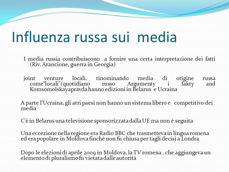 Influenza russa sui media I media russia contribuiscono a fornire una certa interpretazione dei fatti (Riv.