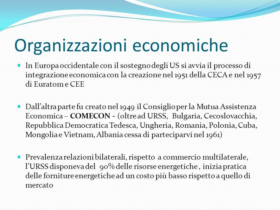 Organizzazioni economiche In Europa occidentale con il sostegno degli US si avvia il processo di integrazione economica con la creazione nel 1951 della CECA e nel 1957 di Euratom e CEE Dall'altra parte fu creato nel 1949 il Consiglio per la Mutua Assistenza Economica – COMECON - (oltre ad URSS, Bulgaria, Cecoslovacchia, Repubblica Democratica Tedesca, Ungheria, Romania, Polonia, Cuba, Mongolia e Vietnam, Albania cessa di parteciparvi nel 1961) Prevalenza relazioni bilaterali, rispetto a commercio multilaterale, l'URSS disponeva del 90% delle risorse energetiche, inizia pratica delle forniture energetiche ad un costo più basso rispetto a quello di mercato