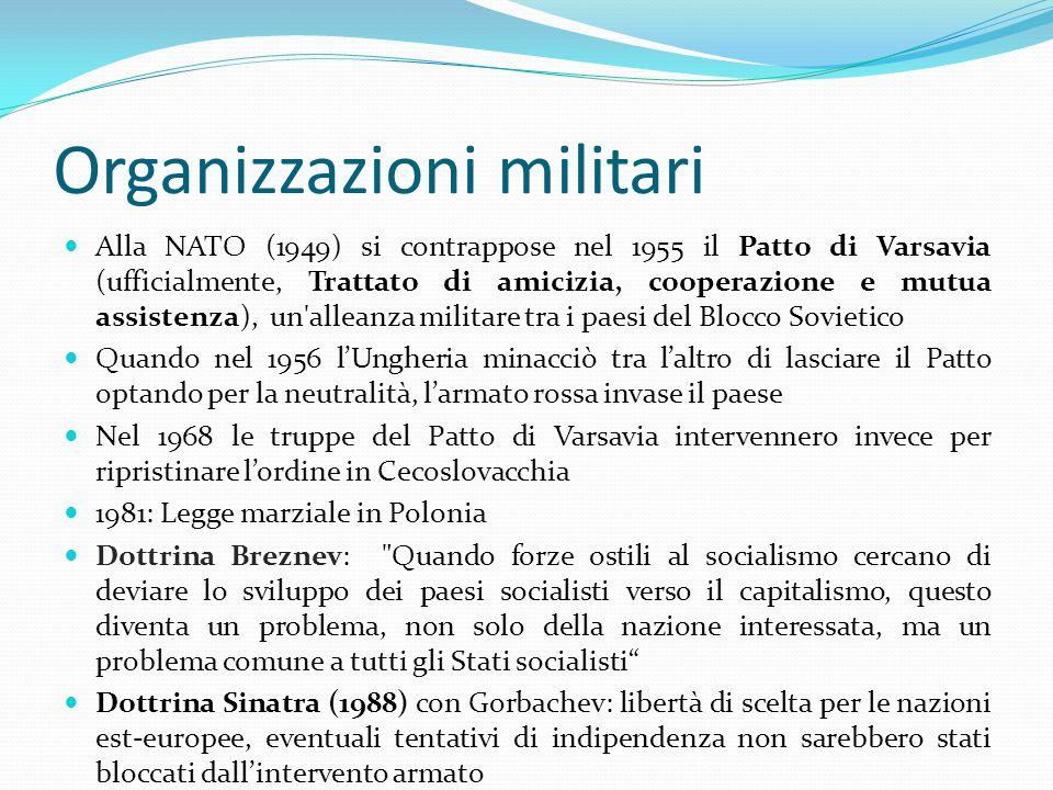 Organizzazioni militari Alla NATO (1949) si contrappose nel 1955 il Patto di Varsavia (ufficialmente, Trattato di amicizia, cooperazione e mutua assistenza), un alleanza militare tra i paesi del Blocco Sovietico Quando nel 1956 l'Ungheria minacciò tra l'altro di lasciare il Patto optando per la neutralità, l'armato rossa invase il paese Nel 1968 le truppe del Patto di Varsavia intervennero invece per ripristinare l'ordine in Cecoslovacchia 1981: Legge marziale in Polonia Dottrina Breznev: Quando forze ostili al socialismo cercano di deviare lo sviluppo dei paesi socialisti verso il capitalismo, questo diventa un problema, non solo della nazione interessata, ma un problema comune a tutti gli Stati socialisti Dottrina Sinatra (1988) con Gorbachev: libertà di scelta per le nazioni est-europee, eventuali tentativi di indipendenza non sarebbero stati bloccati dall'intervento armato