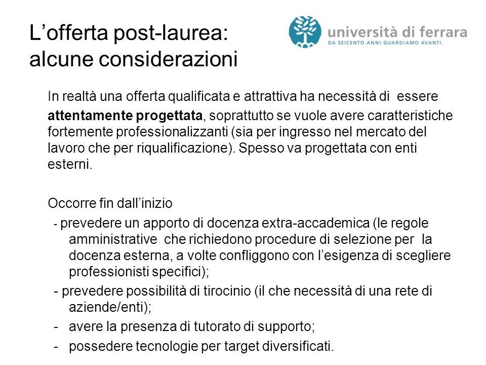 L'offerta post-laurea: alcune considerazioni In realtà una offerta qualificata e attrattiva ha necessità di essere attentamente progettata, soprattutt
