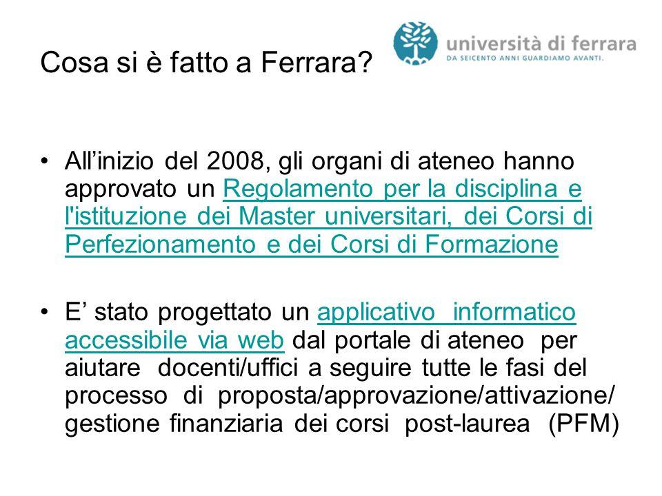 Cosa si è fatto a Ferrara? All'inizio del 2008, gli organi di ateneo hanno approvato un Regolamento per la disciplina e l'istituzione dei Master unive