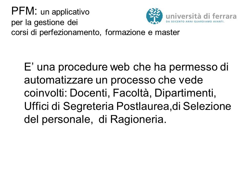 PFM: un applicativo per la gestione dei corsi di perfezionamento, formazione e master E' una procedure web che ha permesso di automatizzare un process