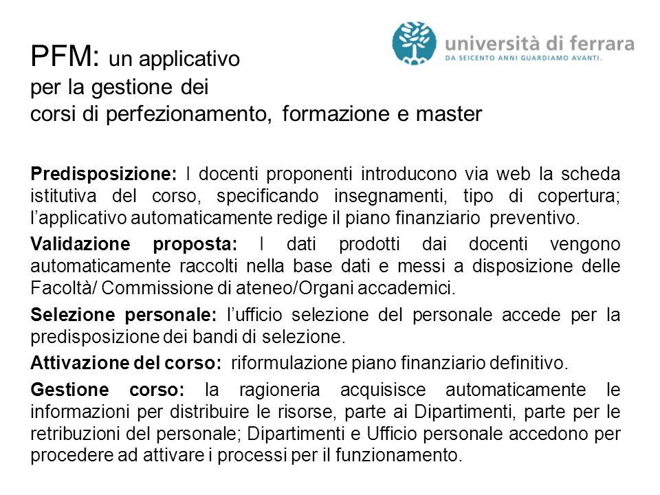 PFM: un applicativo per la gestione dei corsi di perfezionamento, formazione e master Predisposizione: I docenti proponenti introducono via web la sch