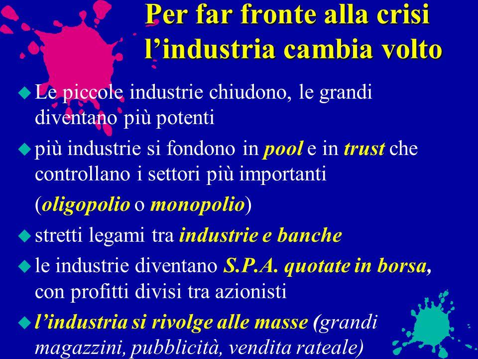 Nei momenti di crisi crolla la fiducia degli industriali nel LIBERISMO Lo stato interviene nei problemi economici: u con il PROTEZIONISMO u diventando