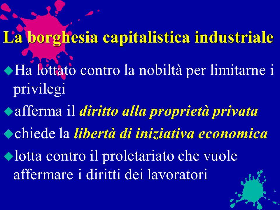 La borghesia u Alta borghesia: grandi proprietari di fabbriche o di aziende agricole, banchieri u Media borghesia: professionisti, proprietari di picc