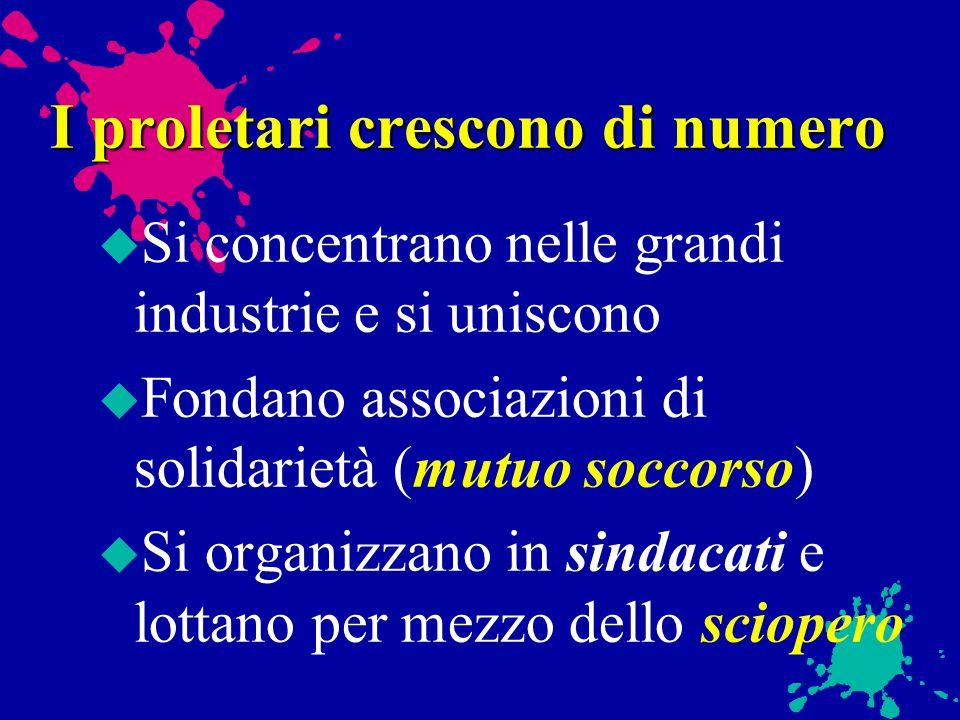 Il proletariato u Operai specializzati u operai generici non specializzati u manovali (lavori manuali pesanti) u operaie e bambini lavoratori