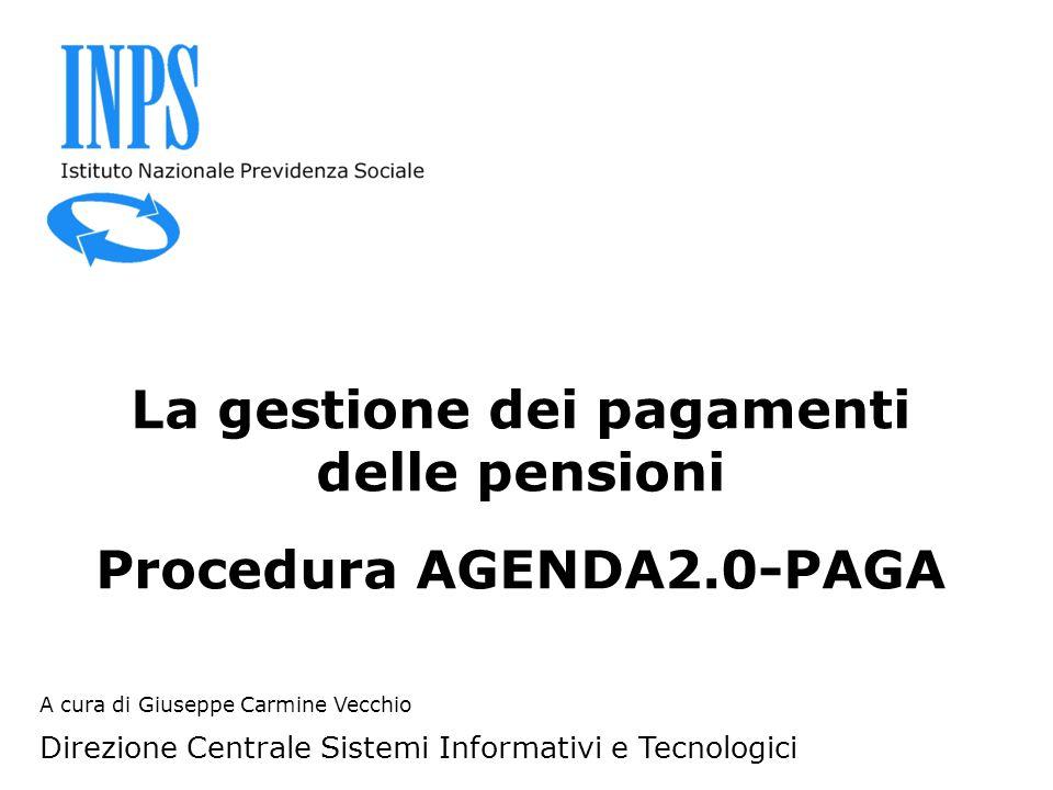A cura di Giuseppe Carmine Vecchio Direzione Centrale Sistemi Informativi e Tecnologici La gestione dei pagamenti delle pensioni Procedura AGENDA2.0-P