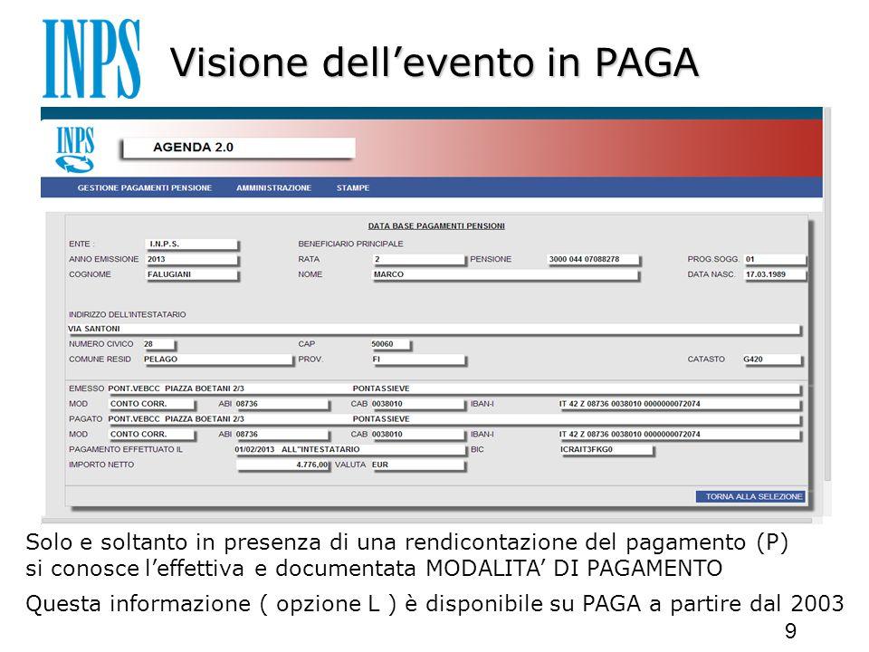 Visione dell'evento in PAGA Solo e soltanto in presenza di una rendicontazione del pagamento (P) si conosce l'effettiva e documentata MODALITA' DI PAGAMENTO Questa informazione ( opzione L ) è disponibile su PAGA a partire dal 2003 9