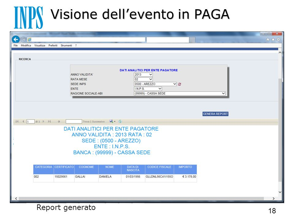 Visione dell'evento in PAGA Report generato 18