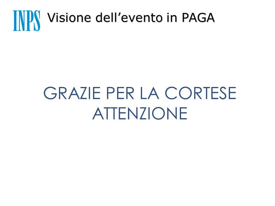 Visione dell'evento in PAGA GRAZIE PER LA CORTESE ATTENZIONE