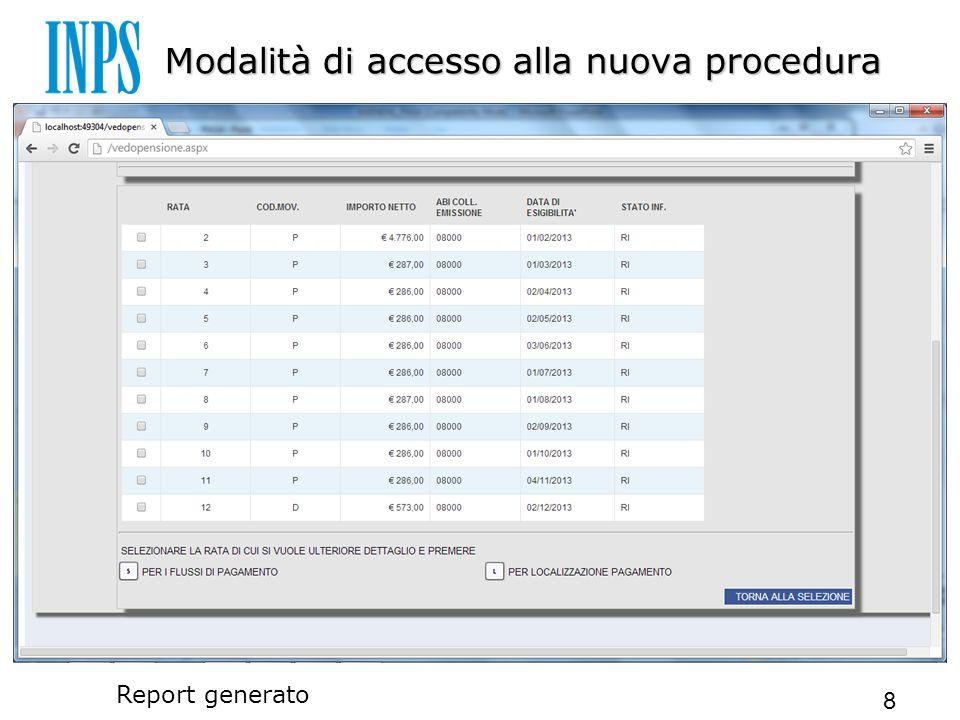 Modalità di accesso alla nuova procedura 8 Report generato