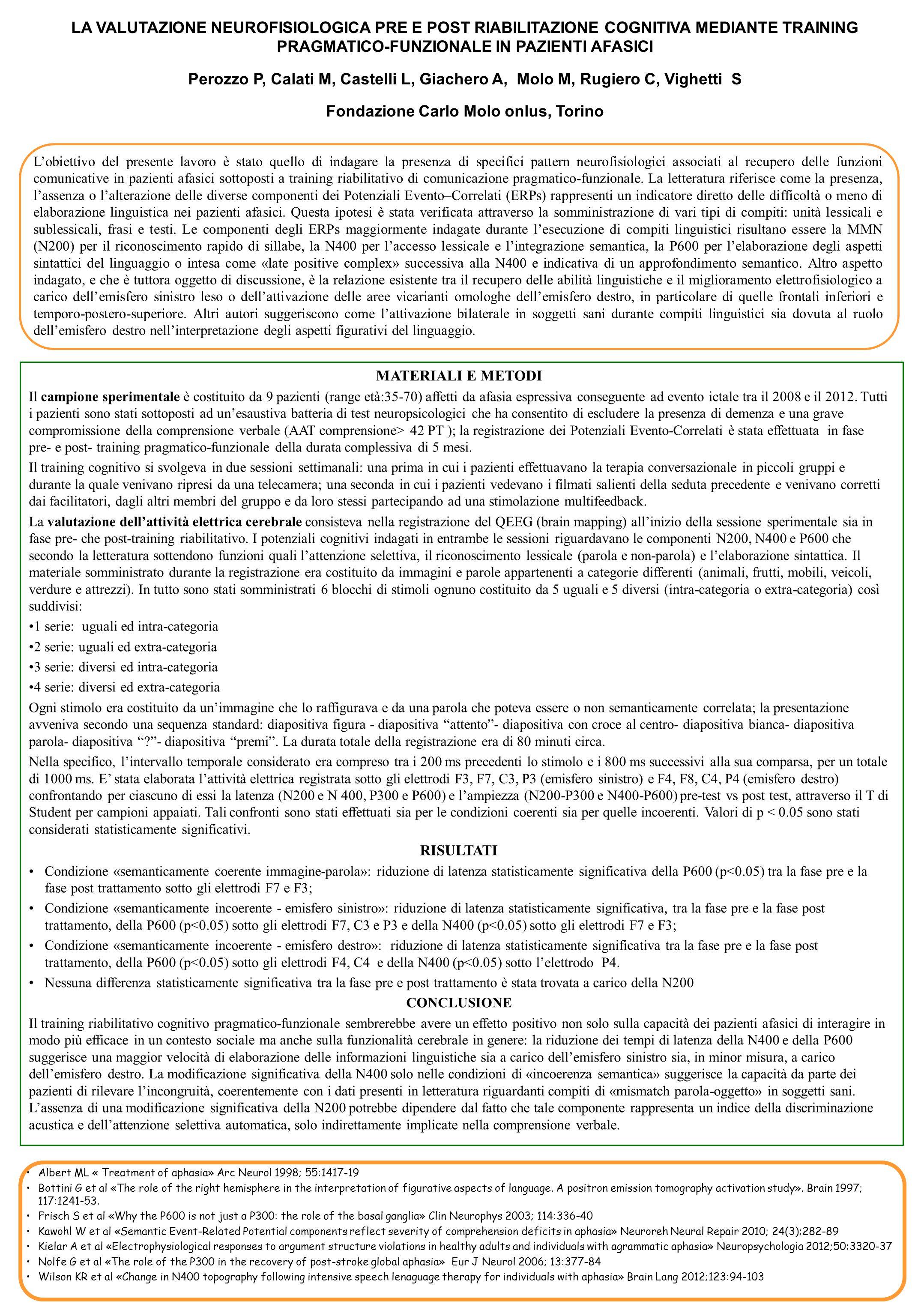 LA VALUTAZIONE NEUROFISIOLOGICA PRE E POST RIABILITAZIONE COGNITIVA MEDIANTE TRAINING PRAGMATICO-FUNZIONALE IN PAZIENTI AFASICI Perozzo P, Calati M, C