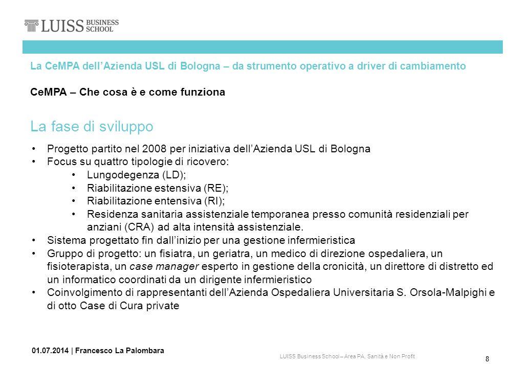 8 LUISS Business School – Area PA, Sanità e Non Profit 01.07.2014   Francesco La Palombara La CeMPA dell'Azienda USL di Bologna – da strumento operati