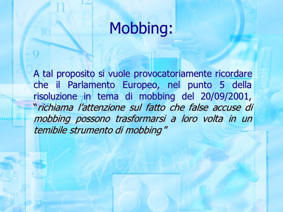 Mobbing: A tal proposito si vuole provocatoriamente ricordare che il Parlamento Europeo, nel punto 5 della risoluzione in tema di mobbing del 20/09/20