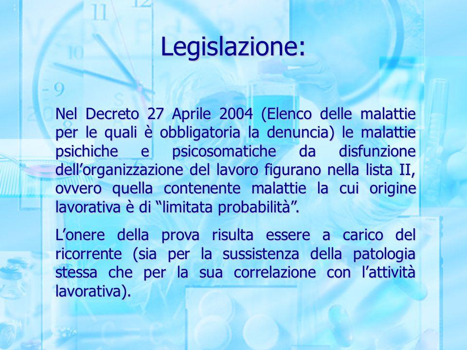 Legislazione: Nel Decreto 27 Aprile 2004 (Elenco delle malattie per le quali è obbligatoria la denuncia) le malattie psichiche e psicosomatiche da dis