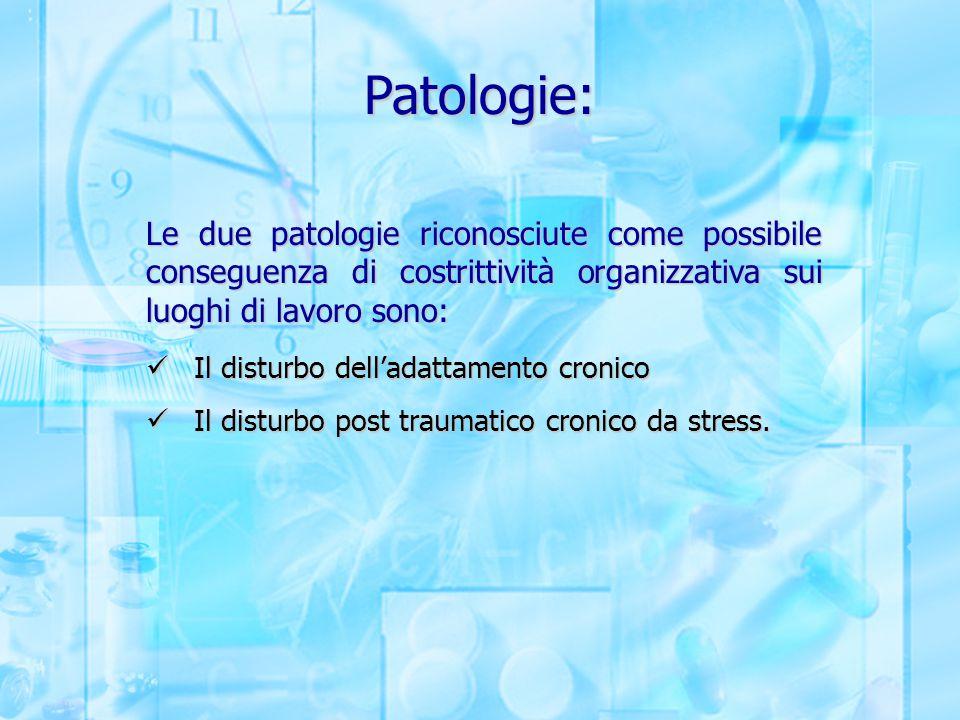 Patologie: Le due patologie riconosciute come possibile conseguenza di costrittività organizzativa sui luoghi di lavoro sono: Il disturbo dell'adattam