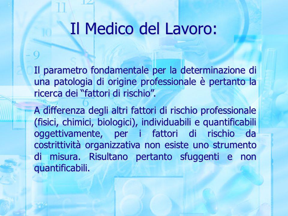 """Il Medico del Lavoro: Il parametro fondamentale per la determinazione di una patologia di origine professionale è pertanto la ricerca dei """"fattori di"""
