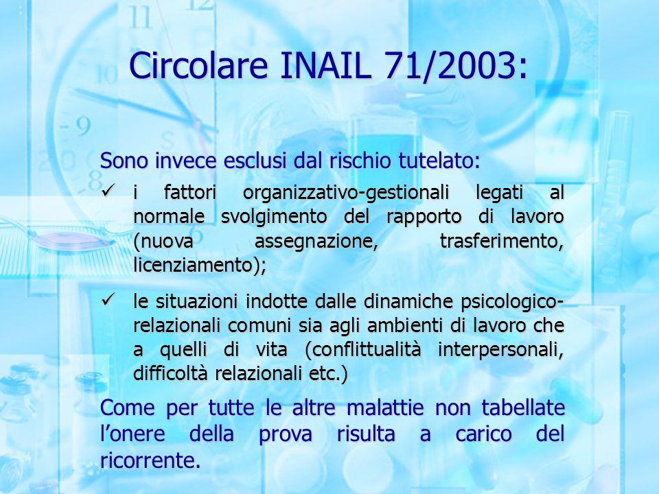 Circolare INAIL 71/2003: Sono invece esclusi dal rischio tutelato: i fattori organizzativo-gestionali legati al normale svolgimento del rapporto di la