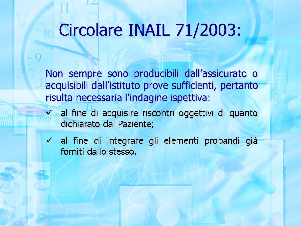 Circolare INAIL 71/2003: Non sempre sono producibili dall'assicurato o acquisibili dall'istituto prove sufficienti, pertanto risulta necessaria l'inda
