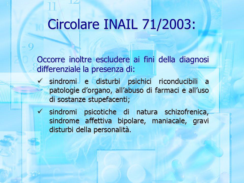 Circolare INAIL 71/2003: Occorre inoltre escludere ai fini della diagnosi differenziale la presenza di: sindromi e disturbi psichici riconducibili a p