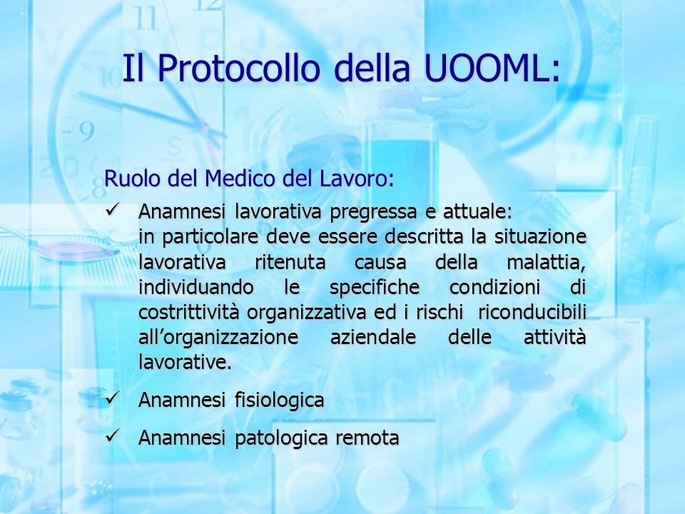 Il Protocollo della UOOML: Ruolo del Medico del Lavoro: Anamnesi lavorativa pregressa e attuale: Anamnesi lavorativa pregressa e attuale: in particola
