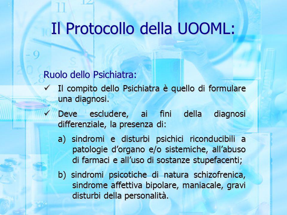 Il Protocollo della UOOML: Ruolo dello Psichiatra: Il compito dello Psichiatra è quello di formulare una diagnosi. Il compito dello Psichiatra è quell