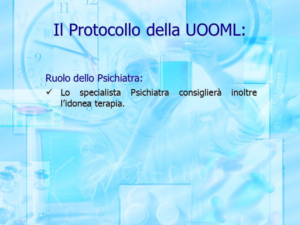 Il Protocollo della UOOML: Ruolo dello Psichiatra: Lo specialista Psichiatra consiglierà inoltre l'idonea terapia. Lo specialista Psichiatra consiglie