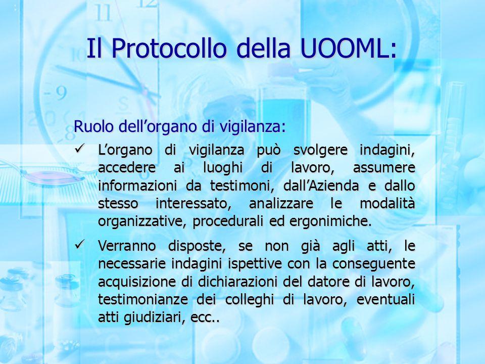 Il Protocollo della UOOML: Ruolo dell'organo di vigilanza: L'organo di vigilanza può svolgere indagini, accedere ai luoghi di lavoro, assumere informa