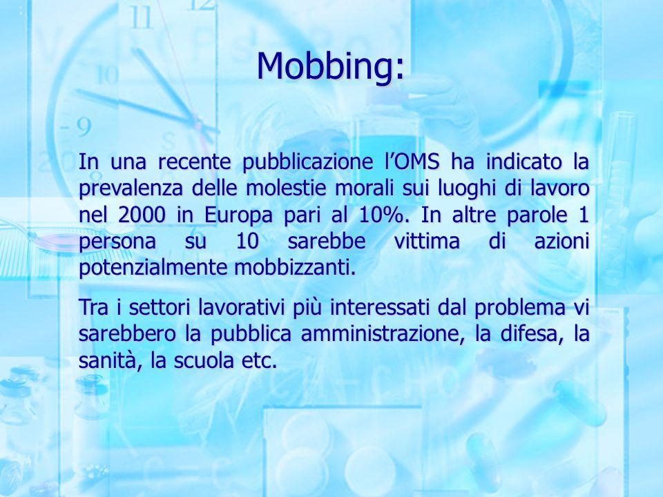 Mobbing: In una recente pubblicazione l'OMS ha indicato la prevalenza delle molestie morali sui luoghi di lavoro nel 2000 in Europa pari al 10%. In al