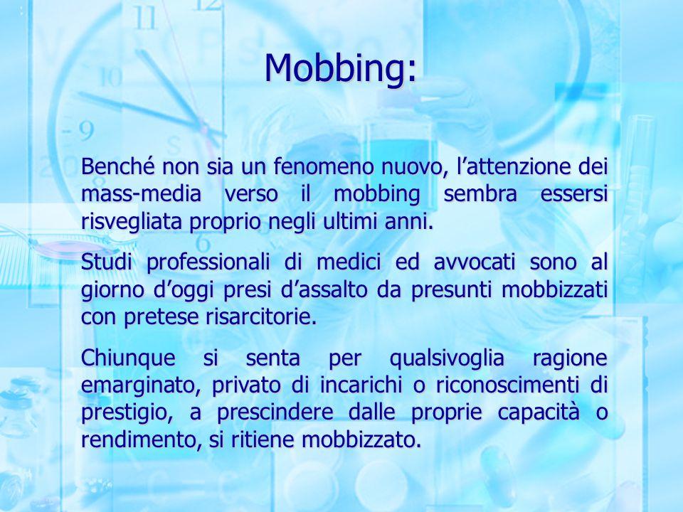 Mobbing: Benché non sia un fenomeno nuovo, l'attenzione dei mass-media verso il mobbing sembra essersi risvegliata proprio negli ultimi anni. Studi pr