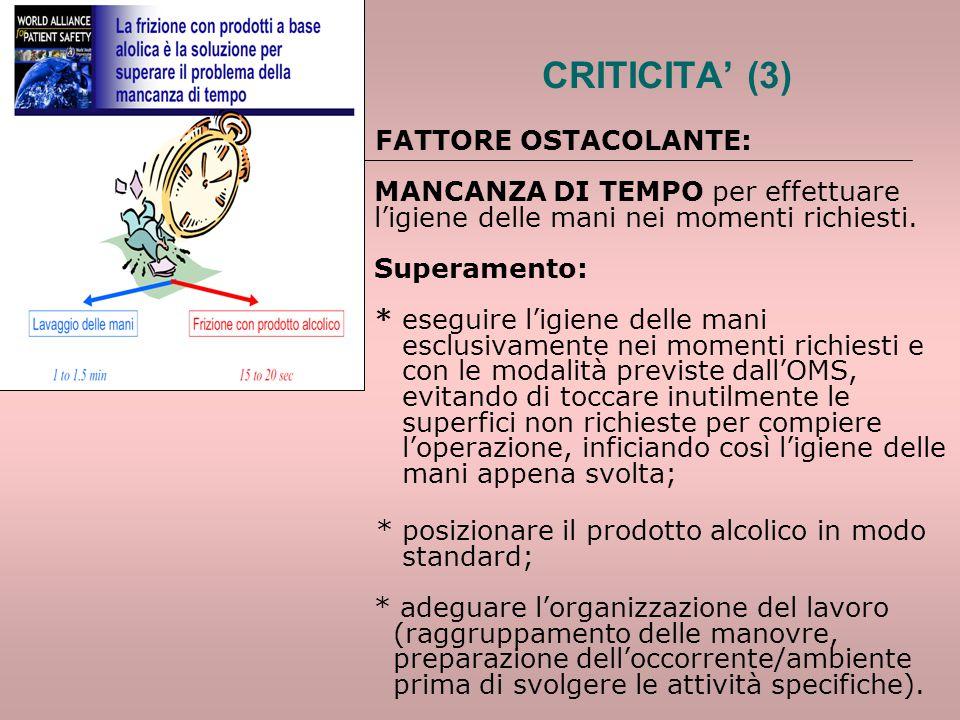 CRITICITA' (3) FATTORE OSTACOLANTE: MANCANZA DI TEMPO per effettuare l'igiene delle mani nei momenti richiesti. Superamento: * eseguire l'igiene delle