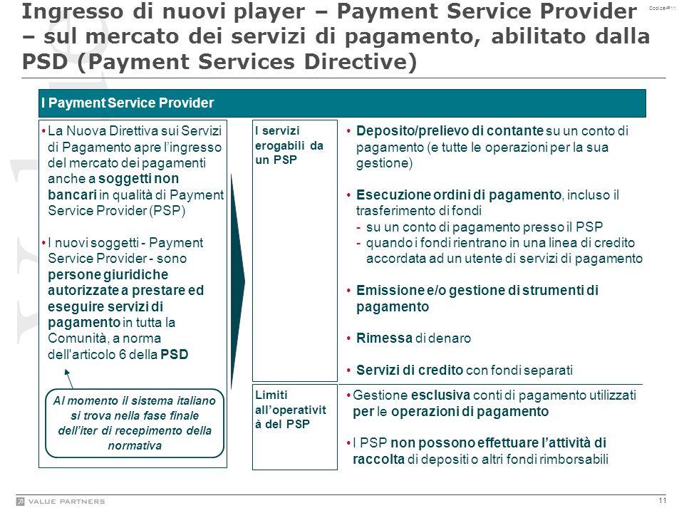 11 Codice-P11 La Nuova Direttiva sui Servizi di Pagamento apre l'ingresso del mercato dei pagamenti anche a soggetti non bancari in qualità di Payment