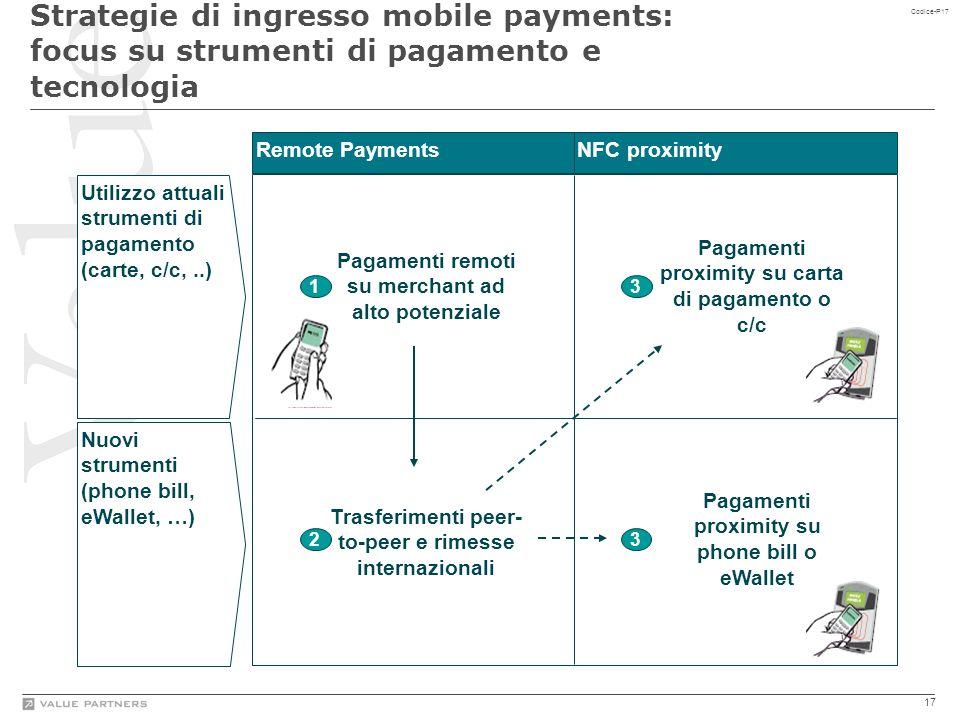 17 Codice-P17 Utilizzo attuali strumenti di pagamento (carte, c/c,..) Nuovi strumenti (phone bill, eWallet, …) Strategie di ingresso mobile payments: