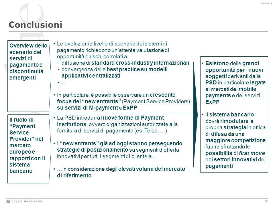 """19 Codice-P19 Conclusioni Overview dello scenario dei servizi di pagamento e discontinuità emergenti Il ruolo di """"Payment Service Provider"""" nel mercat"""