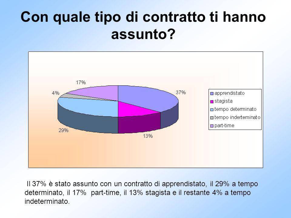 Il 37% è stato assunto con un contratto di apprendistato, il 29% a tempo determinato, il 17% part-time, il 13% stagista e il restante 4% a tempo indeterminato.